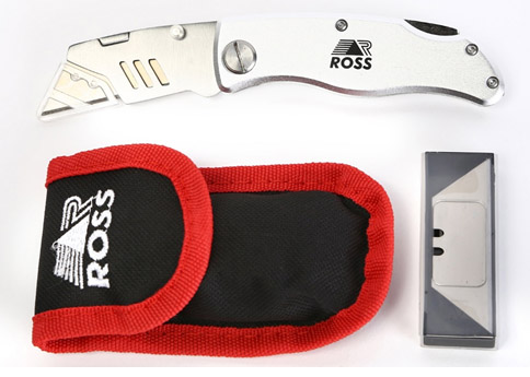 FOLDING UTILITY KNIFE WITH POUCH & BLADES Image